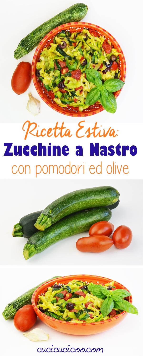 Bastano pochi minuti davanti ai fornelli per fare queste zucchine a nastro con pomodori e olive, una ricetta estiva deliziosa, perfetta per ospiti!