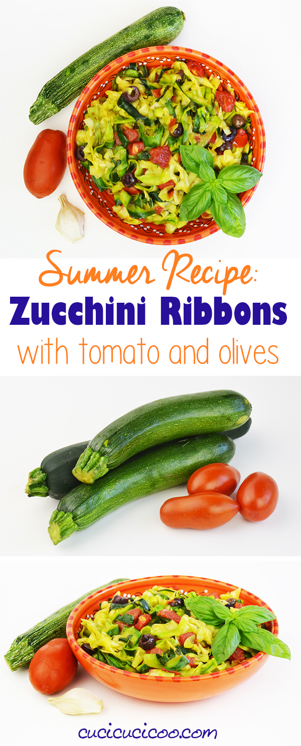 Limit your time at the hot stove with this delicious summer recipe! Family and guests will love zucchini ribbons with tomato, black olives and basil!