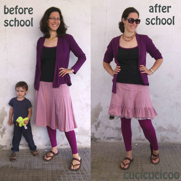 adding a bottom ruffle to a skirt