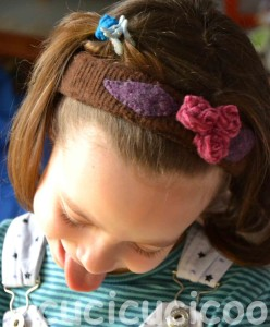 girl's headband made from felted wool scraps