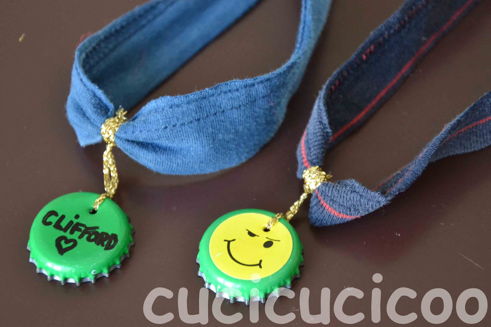 Upcycled bottle cap dog tags and T-shirt sleeve collars!