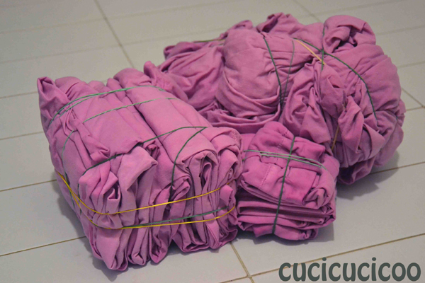 bedsheets folded for tie dying