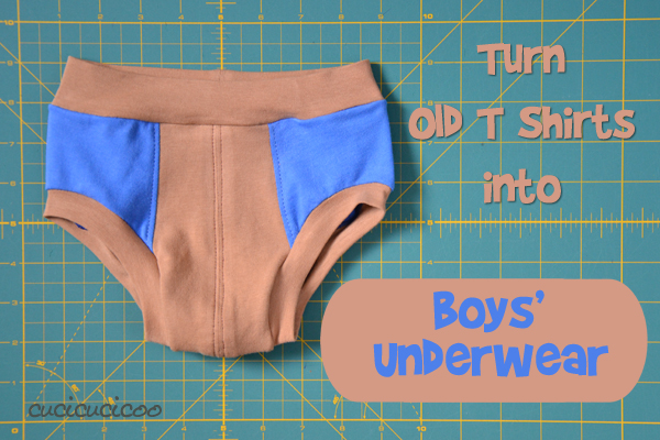 Turn old t shirts into boys' underwear