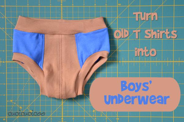 Turn old t shirts into boys' underwear