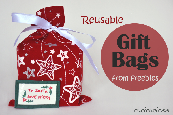 Reusable fabric gift bags from freebie bags