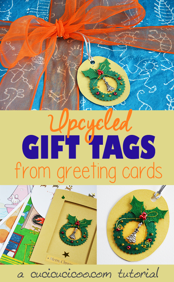 Label your presents with names with these adorable recycled gift tags. They're super easy and free to make from old greeting cards and scraps of ribbon! A beginner's upcycling tutorial by www.cucicucicoo.com