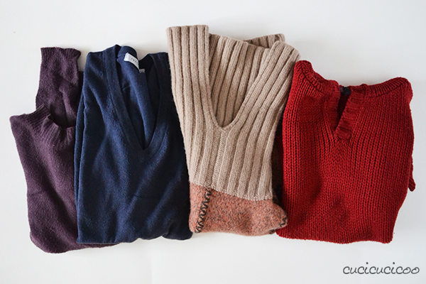 Sew winter hats from old wool sweaters