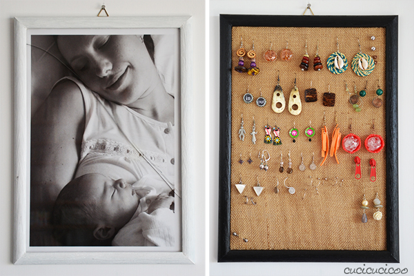 No more lost earrings with this picture frame earring display made from an old burlap bag and a frame with broken glass! A beautiful way to organize your jewelry! #earringdisplay #earringorganizer