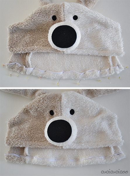 How to make a hat and scarf set from a hooded towel