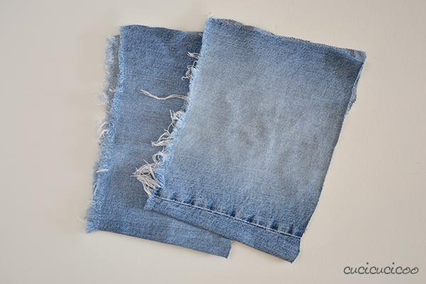 Ritagli di jeans per realizzare la salopette da Minion di Cattivissimo Me