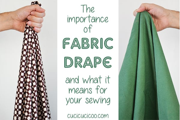 The importance of fabric drape and why you need to understand it in your sewing. A sewing lesson in the free Learn to Machine Sew course for beginners on www.cucicucicoo.com