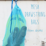 DIY Mesh Drawstring Bags for the beach from old shirts