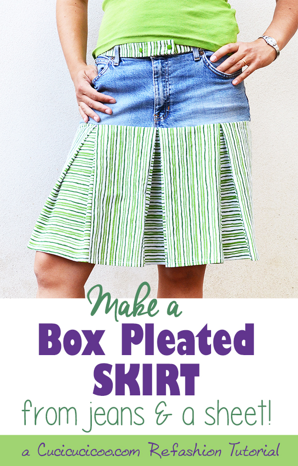 Turn those old jeans and sheet into a cool refashioned skirt! This box pleated skirt tutorial shows you how to take measurements and calculate fabric cuts for a perfect fit!