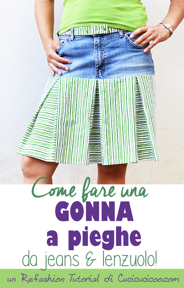 Trasforma jeans e un lenzuolo in una gonna comoda! Questo refashion tutorial per una gonna a pieghe mostra come misurare e tagliare per calzare perfettamente! #riciclojeans #riciclocreativo