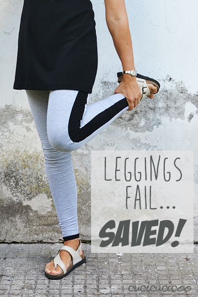 How I saved a leggings sewing fail. Make too-tight leggings wider by adding stretchy side stripes! | www.cucicucicoo.com
