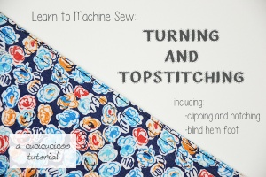 Turning and Topstitching: Learn to Machine Sew, Lesson 6. Why and how to turn and topstitch, including clipping and notching curves/corners and using a blind hem foot for close topstitching. See more at www.cucicucicoo.com