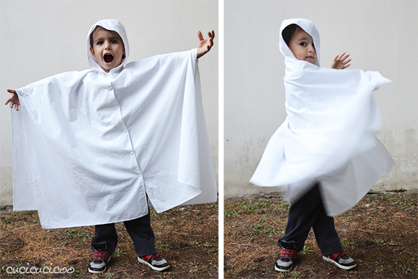 Simple Halloween costumes: a witch cape and a ghost costume with a hood