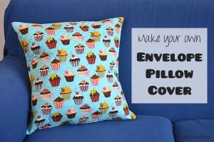 Tutorial: How to sew an envelope pillow cover. This project practices hemming, covered in the Learn to Machine Sew series for beginners on www.cucicucicoo.com.