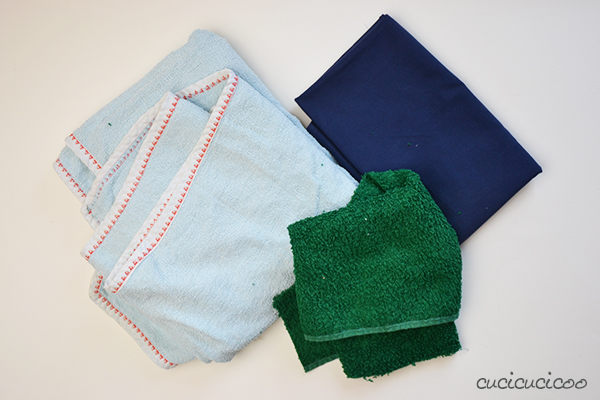 How to sew bathroom rugs from upcycled towels and sheets! Fast, easy and ecofriendly! | www.cucicucicoo.com