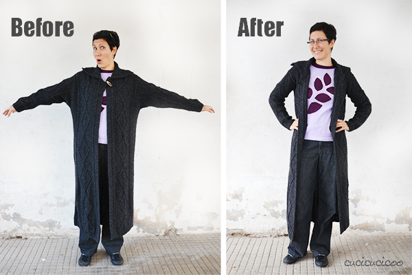 Sweater refashion tutorial: How to slim down a huge maxi cardigan... the EASY way! www.cucicucicoo.com