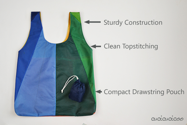 Free Pattern! Introducing the Carry Everywhere Shopping Bag. Upcycle an umbrella or use lightweight fabric to sew a beautifully-finished shopper that can be stuffed in a hidden attached drawstring pouch! #carryeverywhereshoppingbag | www.cucicucicoo.com