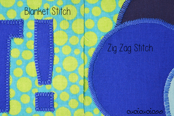 Learn to Sew: How to applique with a sewing machine, both symmetrical and non-symmetrical shapes, with the zig zag stitch, satin stitch or blanket stitch (aka applique stitch) | www.cucicucicoo.com