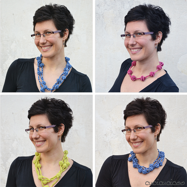 Ball & Chain: a crochet necklace pattern by www.cucicucicoo.com