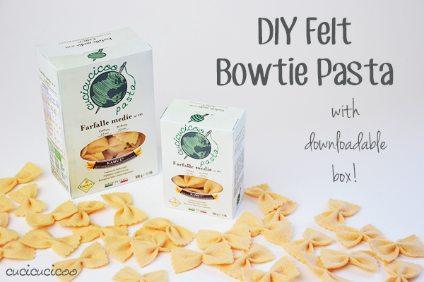DIY Bowtie (butterfly) pasta from felt (with a downloadable box!) www.cucicucicoo.com