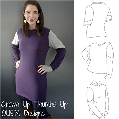 Grown Up Thumbs Up pattern by OUSM: a jersey shirt or tunic with thumbhole cuffs, long or short sleeves, regular or funnel neck, optional bands for sleeve and bottom hems, and maternity option. A pattern review by www.cucicucicoo.com