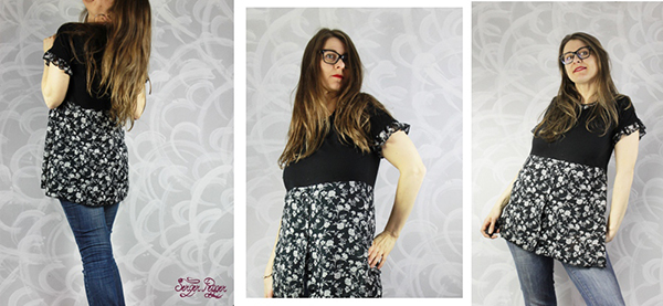 A Flowy and Flowery T-Shirt Dress Refashion: a tutorial by Serger Pepper as part of the Cucicucicoo's Eco Sewers and Crafters series. Save a big and boxy t-shirt and unfashionable flowery dress, by combining them! www.cucicucicoo.com