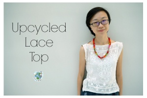 Come cucire un top ricicloso con pizzo da una maglietta vecchia. Un tutorial fai da te di Green Issues by Agy per www.cucicucicoo.com