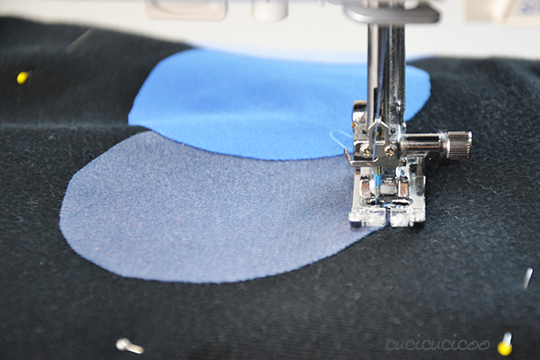 Learn to Machine Sew: How to applique a t shirt to cover logos, stains or tears. A simple trick to make your appliqué come out perfectly every time! www.cucicucicoo.com