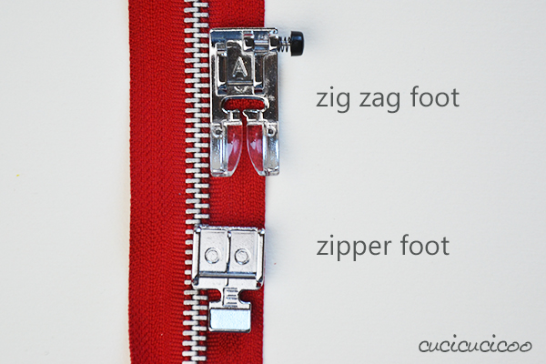 How to sew an exposed zipper: use a zipper foot to perfectly insert and topstitch a zipper. The zipper foot vs. the zig zag foot. www.cucicucicoo.com