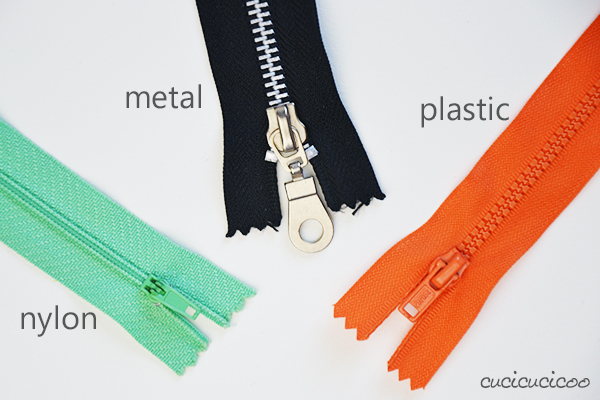 How to sew an exposed zipper: types of zippers (nylon, metal, plastic). www.cucicucicoo.com