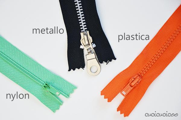 Come cucire una cerniera lampo con l'attaccatura visibile: tre tipi di cerniera (nylon, metallo, plastica) www.cucicucicoo.com