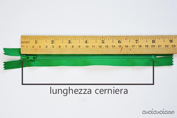 Come cucire una cerniera lampo con l'attaccatura visibile: come calcolare la lunghezza della cerniera. www.cucicucicoo.com