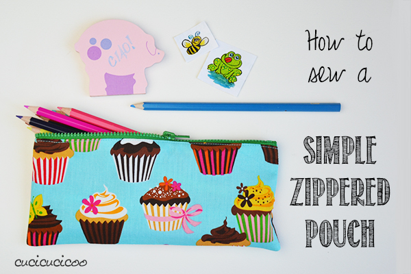 Learn to Machine Sew practice tutorial: How to sew an easy zippered pouch for storing pencils, crochet hooks, makeup or whatever else! You can also change the dimensions and make an easy zippered pillow cover! www.cucicucicoo.com