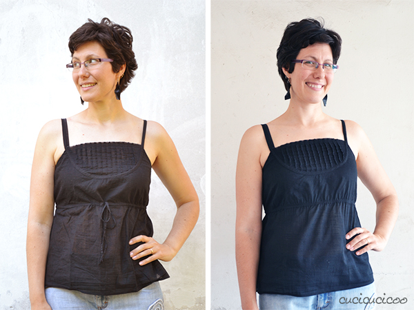 Tank top refashion: no more maternity style! www.cucicucicoo.com