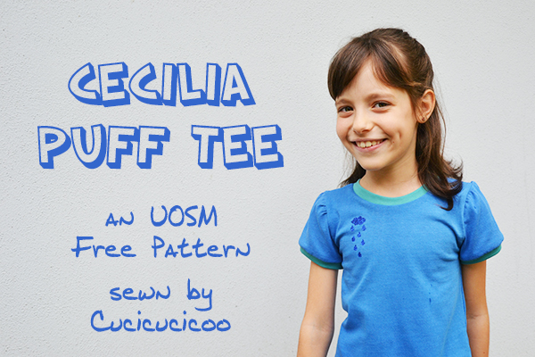 A review of the Cecilia Puff Tee free pattern by Once Upon a Sewing Machine. A sweet and easy t-shirt with puffed shoulders | www.cucicucicoo.com