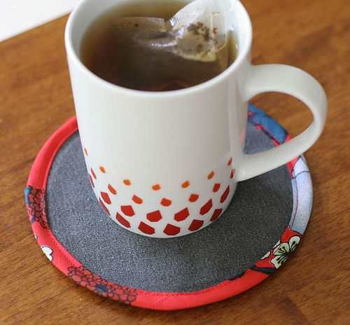 DIY fabric covered CD coasters