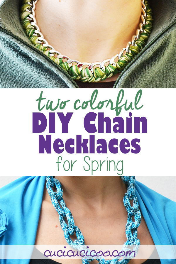 DIY Chain necklaces for spring. Two different techniques make two totally different-looking chain accessories, one with crochet and the other with embroidery floss, but both perfect for gift giving! #diynecklace #crochetnecklace