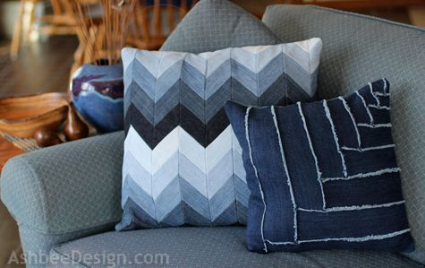 DIY throw pillows from upcycled jeans
