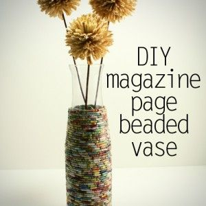 DIY vase with magazine paper beads