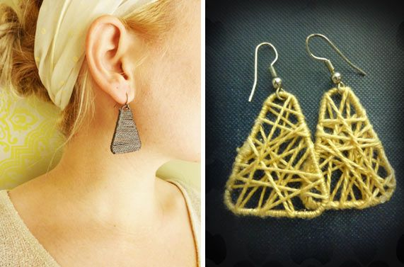 Earrings made from paper clips and string