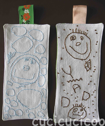 DIY bookmarks with children's art embroidered on them | tutorial on www.cucicucicoo.com