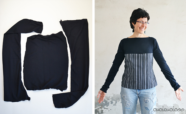 Refashion: Top with boat collar from leggings | www.cucicucicoo.com