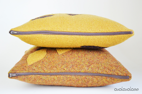 Tutorial: How to sew a felted wool cover with a leaf appliqué from old sweaters. Free template included! www.cucicucicoo.com