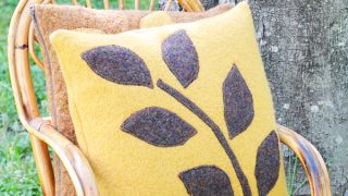 How to sew a Felted Wool Pillow with leaf appliqué
