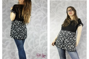 A flowy and flowery T-shirt and dress refashion | www.cucicucicoo.com