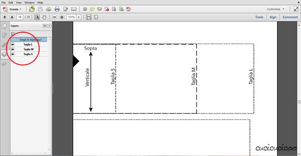 Come nascondere le taglie che non servono in cartamodelli PDF: niente più confusione con linee superflue! www.cucicucicoo.com